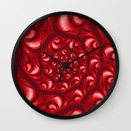 Fractal Web in Red White and Black Wall Clock