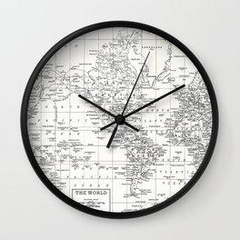 White World Map Wall Clock