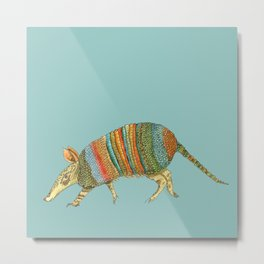 Armadillo on Blue Metal Print
