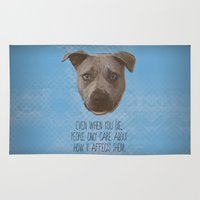 pit bull Area & Throw Rugs featuring Pit Bull Print by Roxy Makes Things