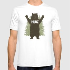 Bear Hug White Mens Fitted Tee 2X-LARGE