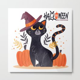 Halloween is coming, watercolor drawn cat, halloween illustration Metal Print