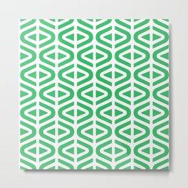 Mid Century Modern Split Triangle Pattern Green Metal Print