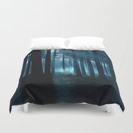 Haunted forest- winter mist in forest Duvet Cover