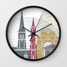Leicester skyline poster Wall Clock