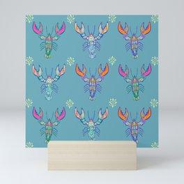Boho Lobster Pattern Mini Art Print