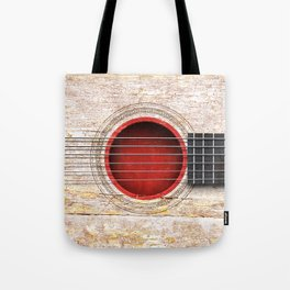 Old Vintage Acoustic Guitar with Japanese Flag Tote Bag