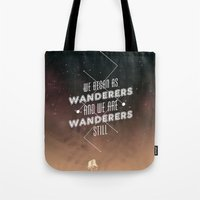 geology Tote Bags featuring Wanderers - MSL/Curiosity Commemoration Print by vondell
