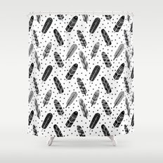 Feathers black and white triangle geometric modern trendy hipster boho southwest native style kids Shower Curtain