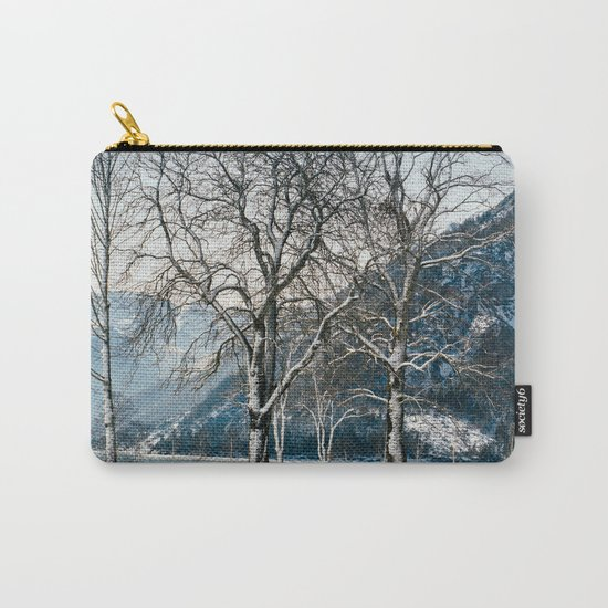 Trees By A Winter Lake Carry-All Pouch