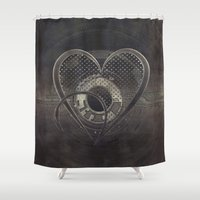 metallic Shower Curtains featuring Metallic Heart by Simone Gatterwe
