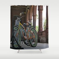 bikes Shower Curtains featuring Bikes by Photaugraffiti