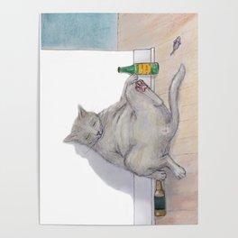 Drunk Kitty Poster