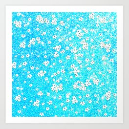 turquoise blue white floral pattern Art Print
