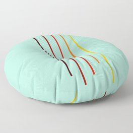 Minimal Abstract Colorful Stripes On Green Floor Pillow