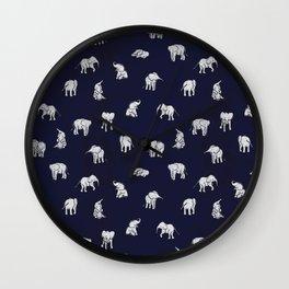 Indian Baby Elephants in Navy Wall Clock