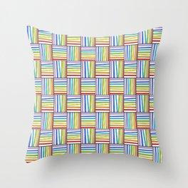 symetric tartan and gingham 20 -vichy, gingham,strip,square,geometric, sober,tartan Throw Pillow