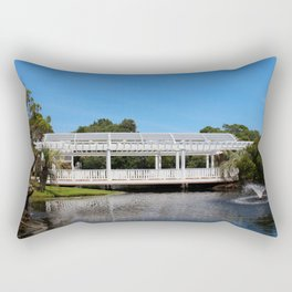 Charming White Wooden Bridge Rectangular Pillow