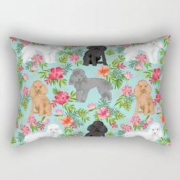 Toy Poodle dog breed pet portraits hawaiian floral flowers dog pattern custom dog lover art Rectangular Pillow