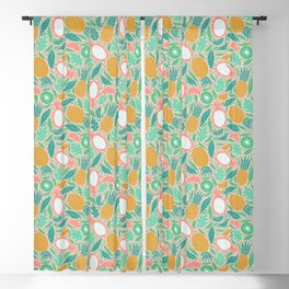 Summer Fruit on Pink Blackout Curtain