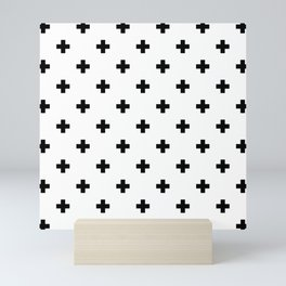 Swiss cross pattern in black Mini Art Print