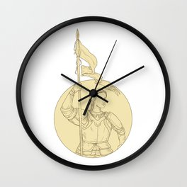 Female Knight  Holding Flag Circle Drawing Wall Clock