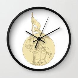 Female Knight  Holding Flag Circle Drawing Wall Clock