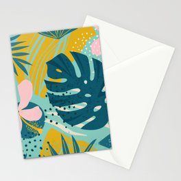 Hawaii Pastel Pink & Mint Green Tropical Floral-Prints Stationery Cards
