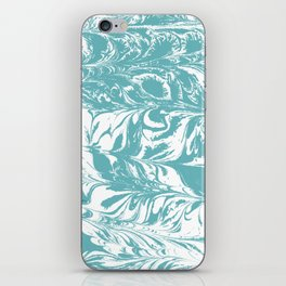 Japanese paper marbling suminiagashi pastel turquoise light blue ocean topography swirl marble iPhone Skin