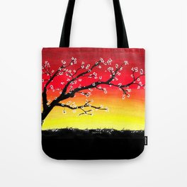 Drawing Sunset and a Blossom Tree Tote Bag