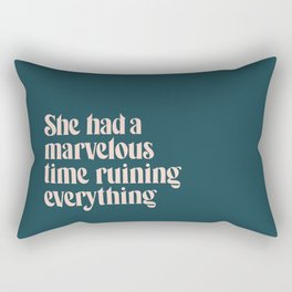 She Had a Marvelous Time   Blue   Hand Lettered Typography Rectangular Pillow