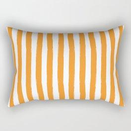 Orange and White Cabana Stripes Palm Beach Preppy Rectangular Pillow