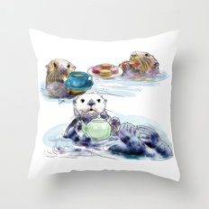 The Otter's Tea Throw Pillow