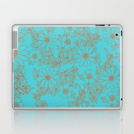 Modern orange aqua hand drawn floral Laptop & iPad Skin