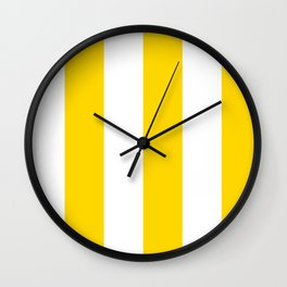 Wide Vertical Stripes - White and Gold Yellow Wall Clock