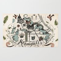 minneapolis Area & Throw Rugs featuring Minneapolis Map by Jared Tuttle