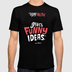Living With Computers Gives Funny Ideas SMALL Black Mens Fitted Tee