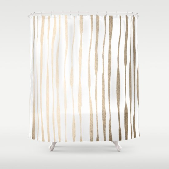 white gold sands ink pinstripes shower curtain by simple