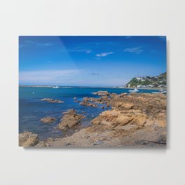 Boats And Rocky Shore Metal Print