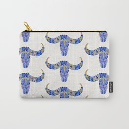 Water Buffalo Skull – Navy & Gold Carry-All Pouch