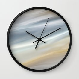 Watercolor, Abstract, Peaceful Sky, Clouds Print, Gray and Yellow Wall Clock