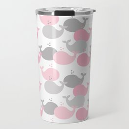 Whale Nautical Pink Gray Travel Mug