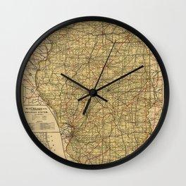 Vintage Illinois Railroad Map (1897) Wall Clock