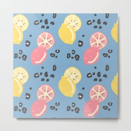 abstract modern pattern background with lemons and animal print with leopard dots Metal Print