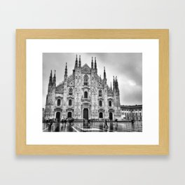 Duomo di Milano in the rain Framed Art Print
