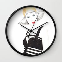 fashion illustration Wall Clocks featuring Fashion Illustration by Debbie