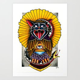 Cat Owl Art Print