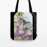 """mucha Tote Bags featuring """"Restored"""" Mucha Illustration by Katie Haire"""