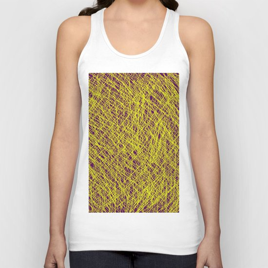 Expressive Yellow (Abstract, purple and yellow) Unisex Tank Top