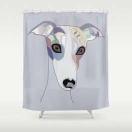 Whippet in Denim Colors Shower Curtain